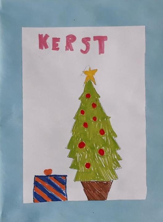 tekening met kerstboom
