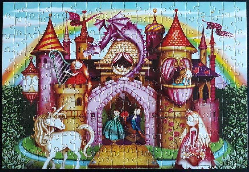 puzzel kasteel, prinses, unicorn
